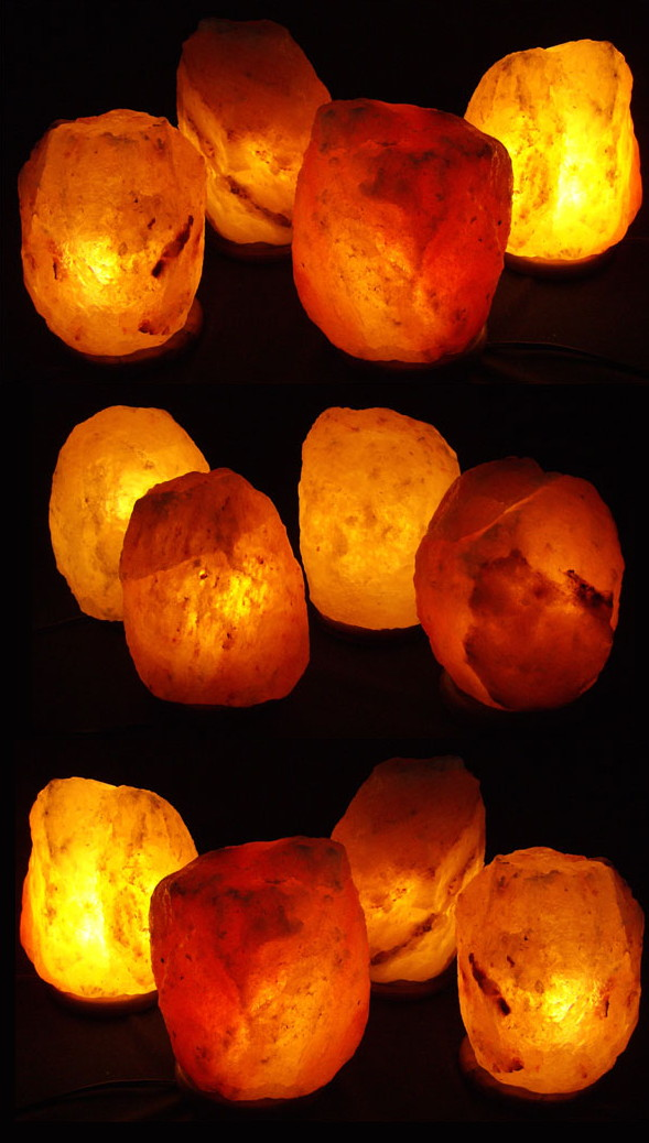 12 4-5lb Natural Himalayan Salt Crystal Lamps- Gift/Office Package