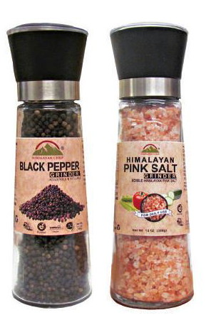 Glass Himalayan Salt Grinder & Indian Black Pepper Mill