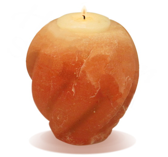Hand Carved Flame Himalayan Salt Candle Holder